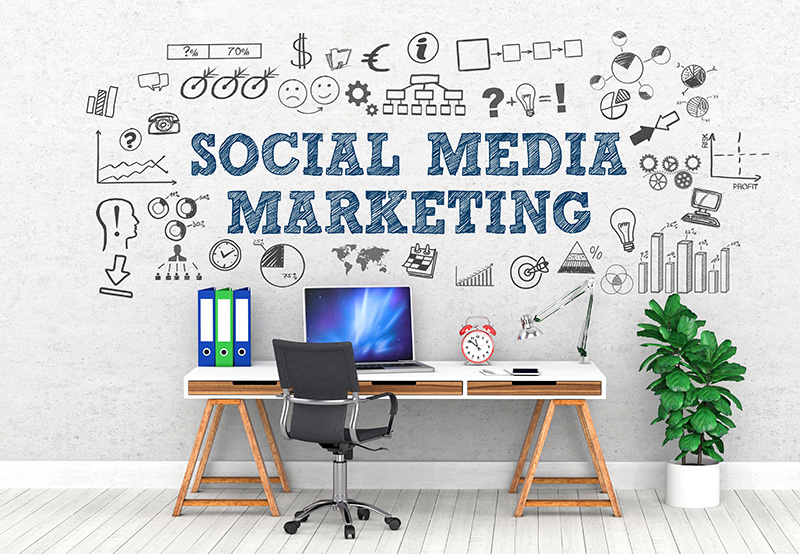A desk in front of a wall with social media marketing written on it for internet marketing Toronto from Final Phase Digital marketing agency