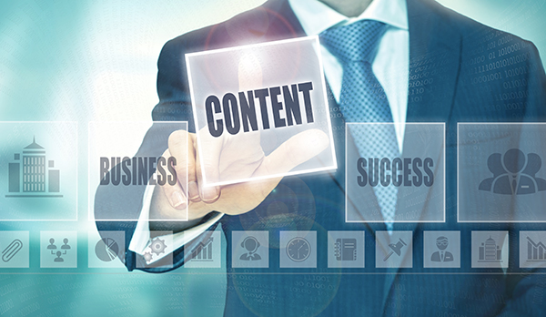 Business man selecting Content Marketing Companies Toronto button